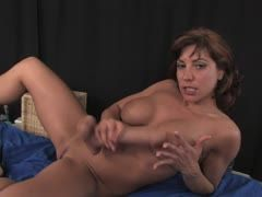 Mature milf has fun with a huge dildo