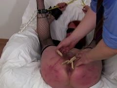 German slave's twat is clamped