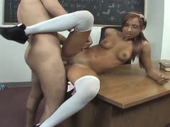 Student sucks the big boner in the teachers' room