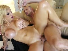 Oiled Nikki Monroe is fucked