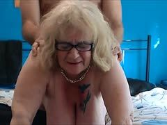 Chubby granny is ass fucked