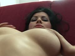 Teen with big tits masturbates