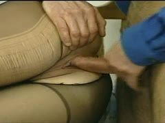 He tears her nylons apart and fucks her