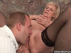 Blonde grannies have fun with young dicks
