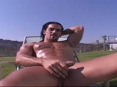 Long-haired gay wanks outside