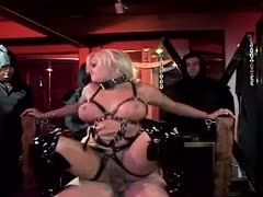 Submissive blonde in bdsm outfit likes dirty talk