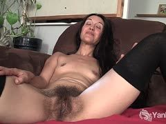 Sexy woman with extremely hairy twat