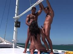 Hard mariners fuck sexy milf outdoors on deck