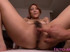 Hairy Asian is observed fingering and fucking