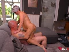 German older couple fucks at home