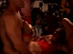 Filthy hoe is fucked by two guys on the poker table