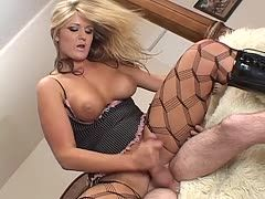 Blonde in lingerie wanks his hard cock