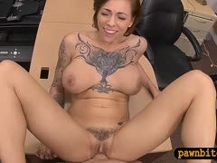 Tattooed amateur is fucked in a shop