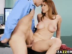 Red-haired milf fuck on the table with footjob