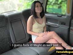 Lesbian cab driver has sex in the car with a dark-haired girl