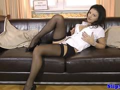 Black-haired girl shows on the sofa and sucks and fucks an old cock