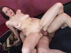 Brunette milf is banged from ass to cunt after her dildo sex