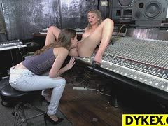 Lesbian girls eat out their pussies at the sound studio