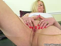 Fat blonde nylon granny masturbates
