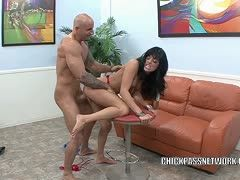 Dark-haired slut is fucked the rough way