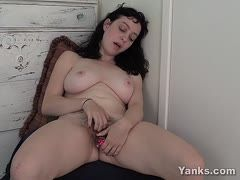 Dildo sex with hairy cunt