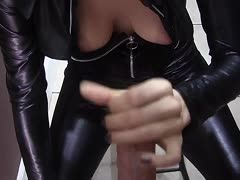 Teen in latex sucks cock